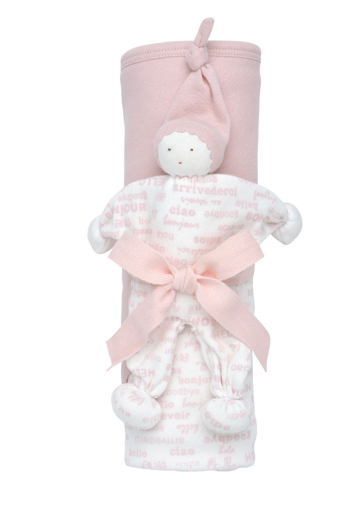 Hooded Blanket and Buddy Gift Blush Set
