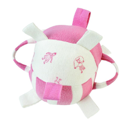 "Rattle Tag Ball - 5"" Pink"
